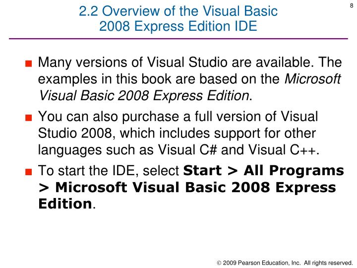 2.2 Overview of the Visual Basic