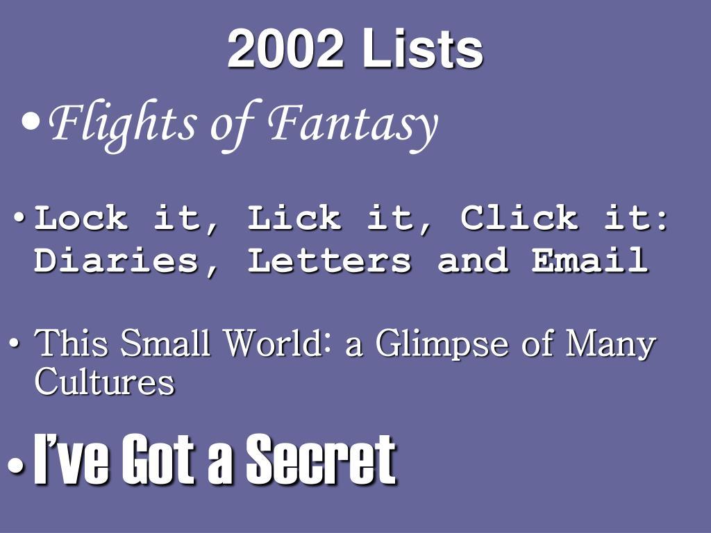 2002 Lists