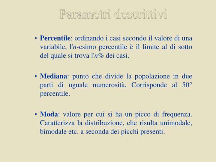 Parametri descrittivi