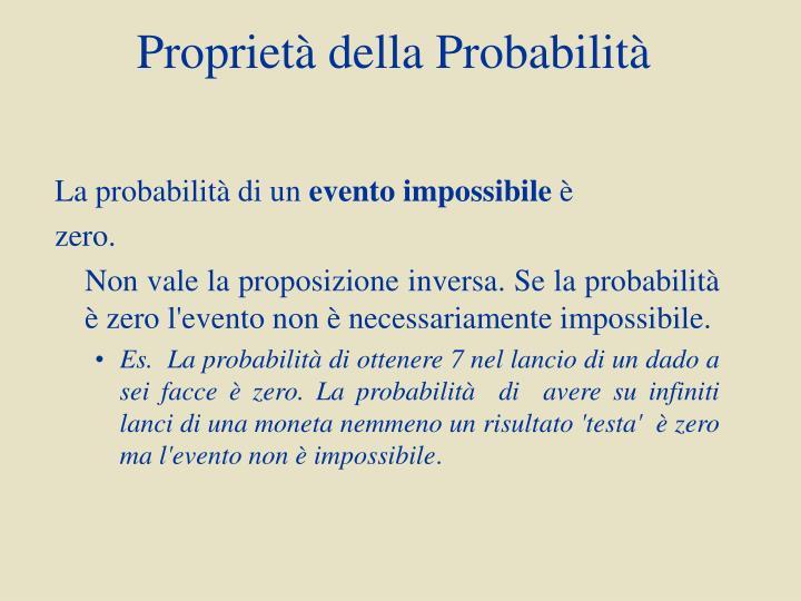 Proprietà della Probabilità