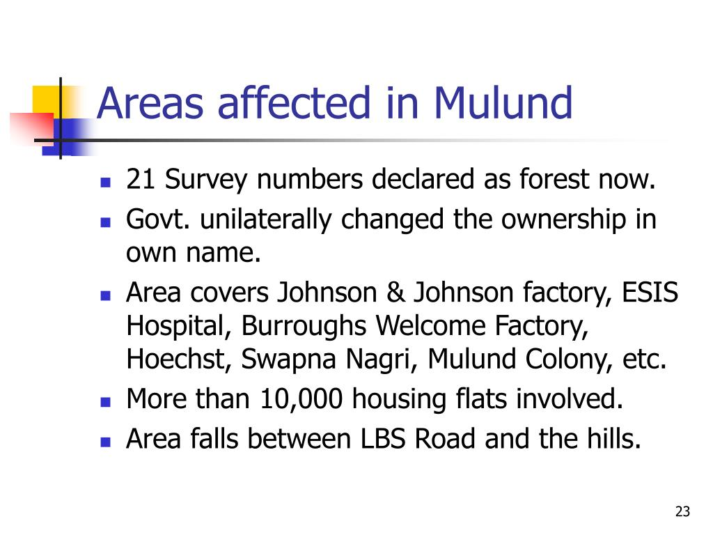 Areas affected in Mulund