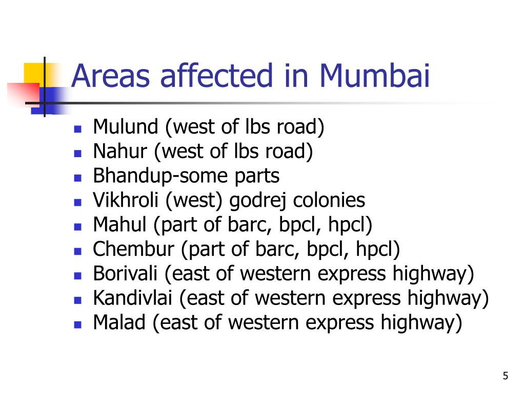 Areas affected in Mumbai