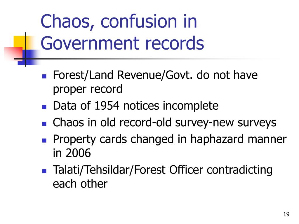 Chaos, confusion in Government records