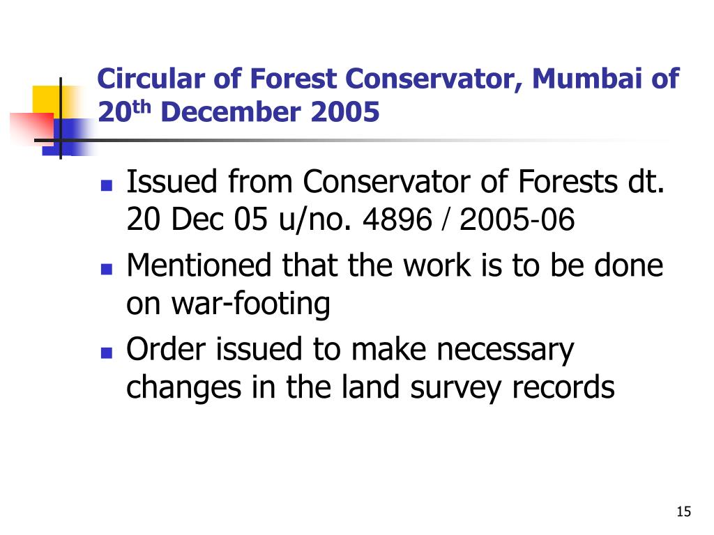 Circular of Forest Conservator, Mumbai of 20