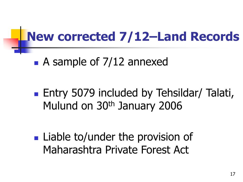 New corrected 7/12–Land Records