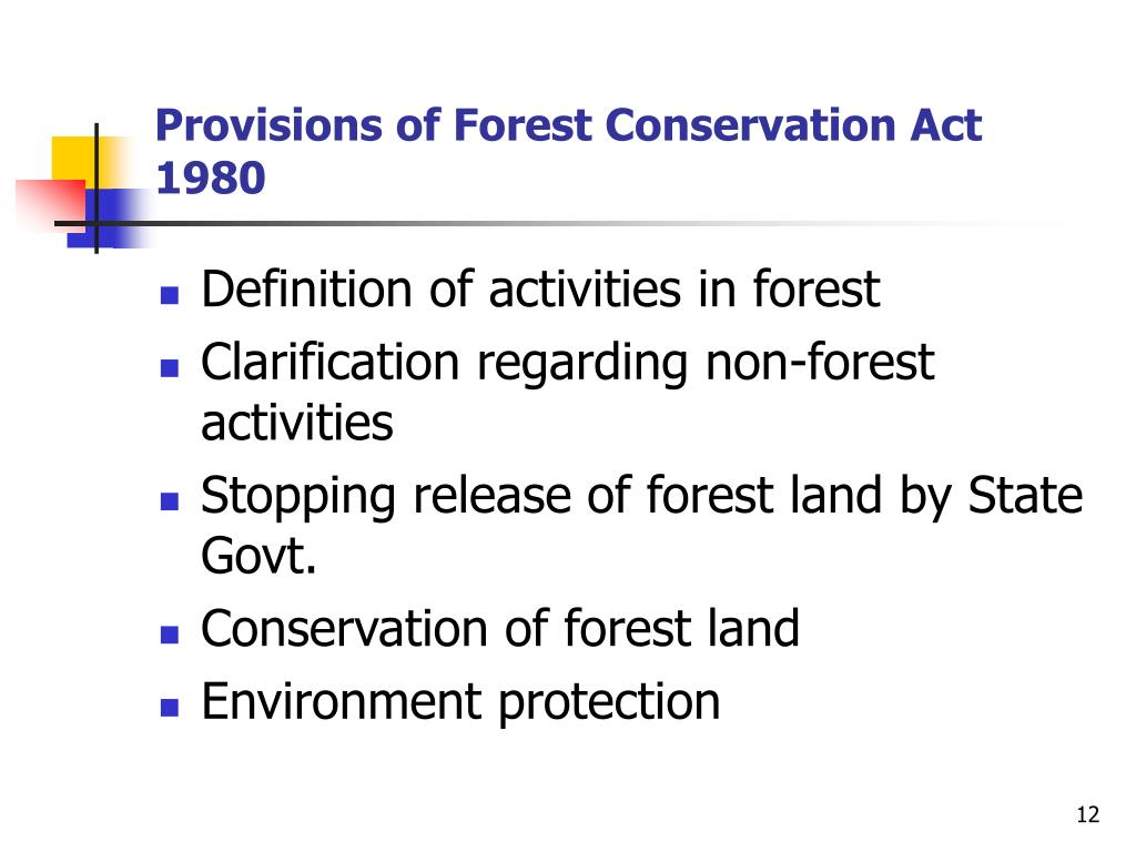 Provisions of Forest Conservation Act 1980