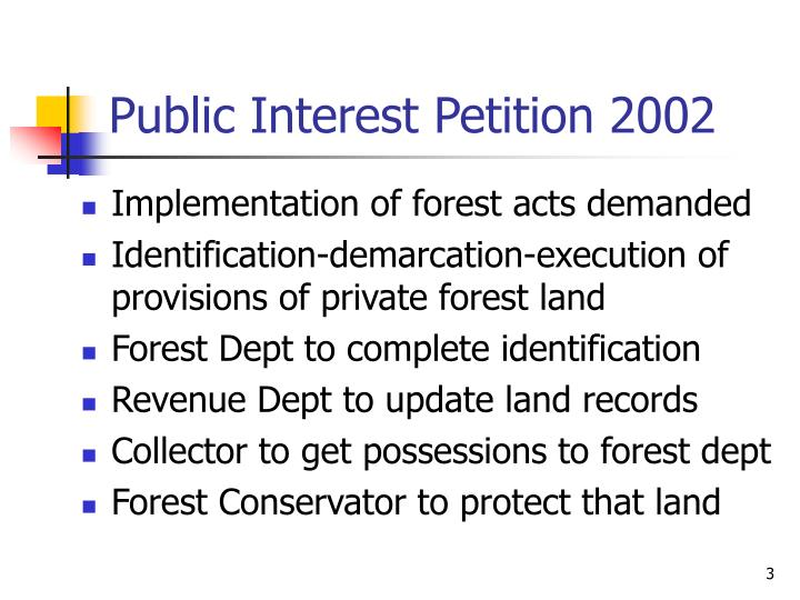 Public interest petition 2002
