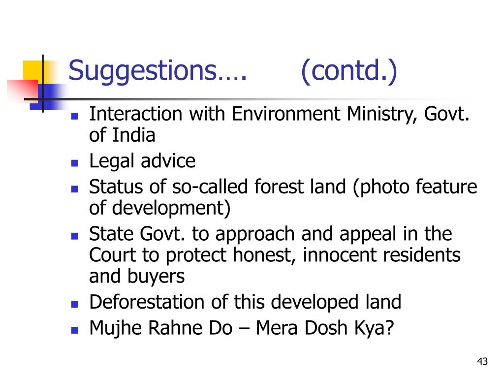 Suggestions….      (contd.)