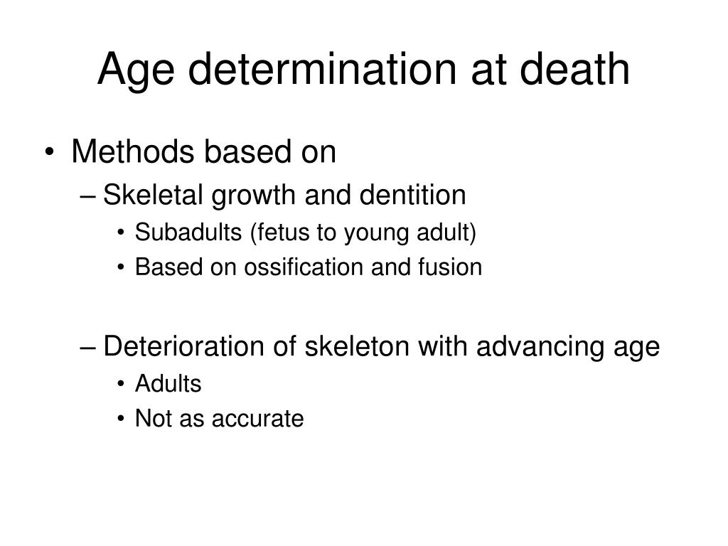 Age determination at death