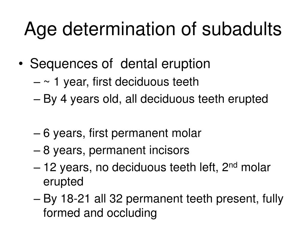 Age determination of subadults