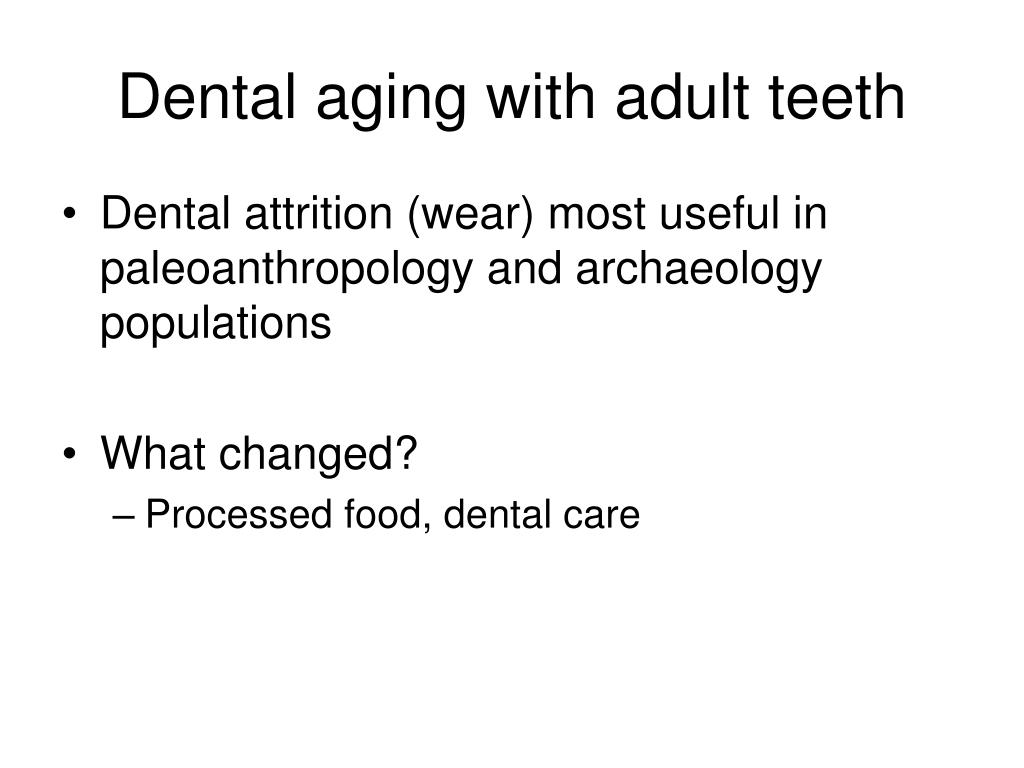 Dental aging with adult teeth