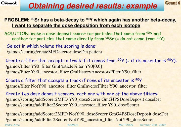 Obtaining desired results: example
