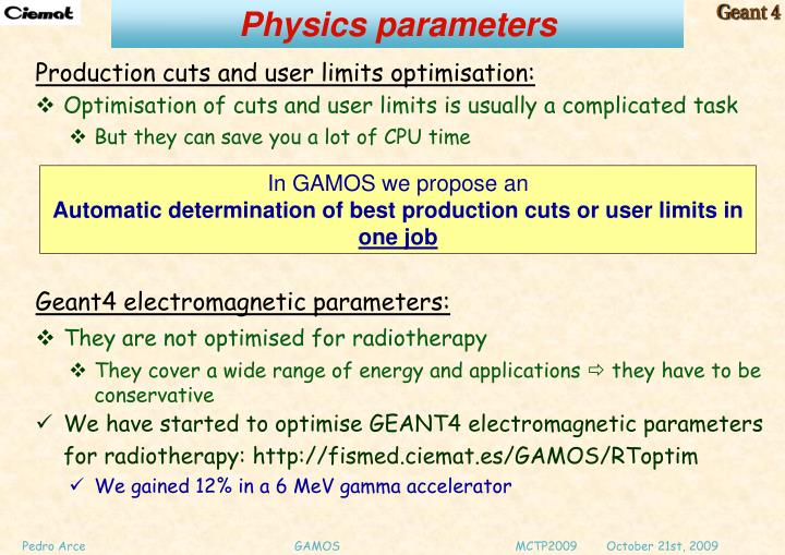 Physics parameters