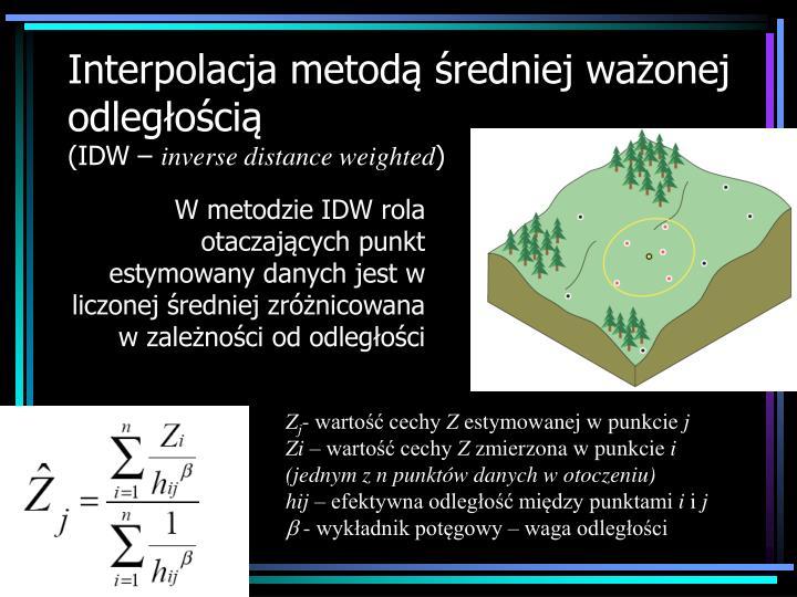 Interpolacja metodą średniej ważonej odległością