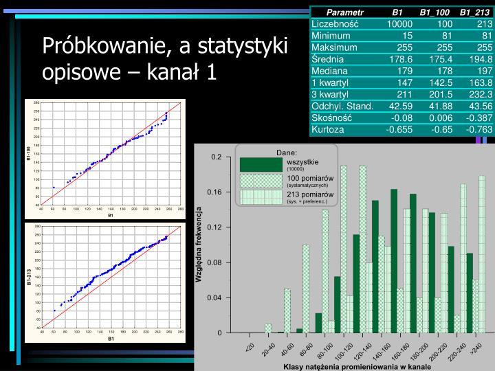 Próbkowanie, a statystyki opisowe – kanał 1