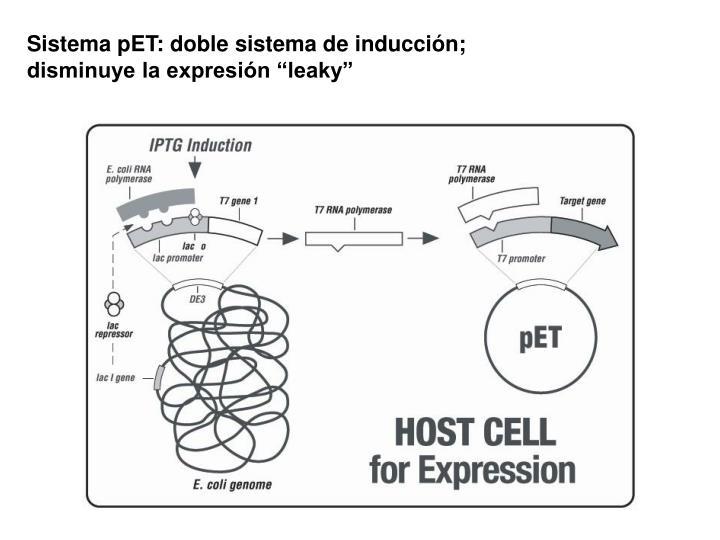 """Sistema pET: doble sistema de inducción; disminuye la expresión """"leaky"""""""