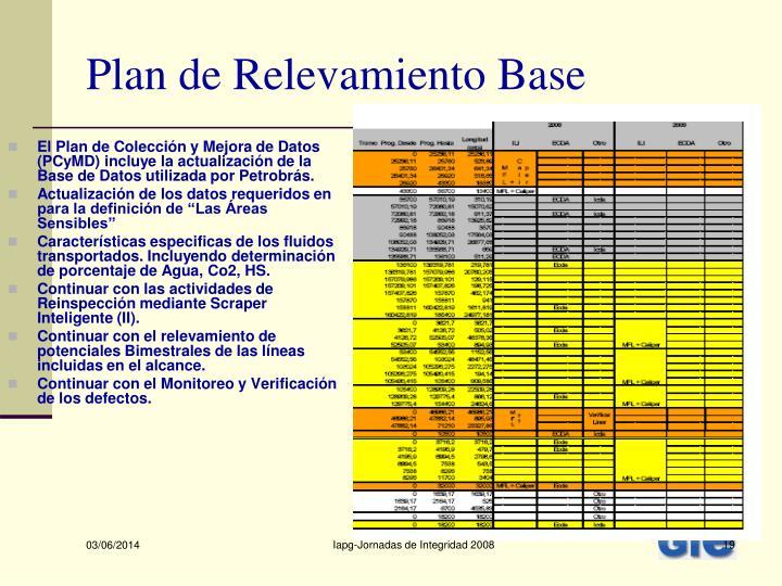 El Plan de Colección y Mejora de Datos (PCyMD) incluye la actualización de la Base de Datos utilizada por Petrobrás.