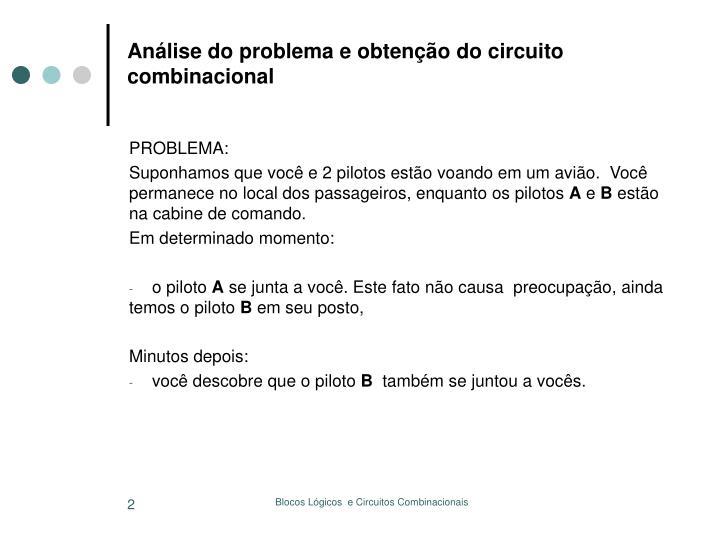 Análise do problema e obtenção do circuito combinacional