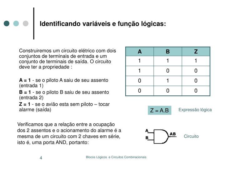 Identificando variáveis e função lógicas: