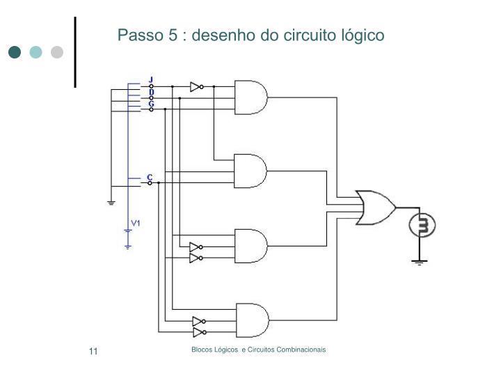 Passo 5 : desenho do circuito lógico