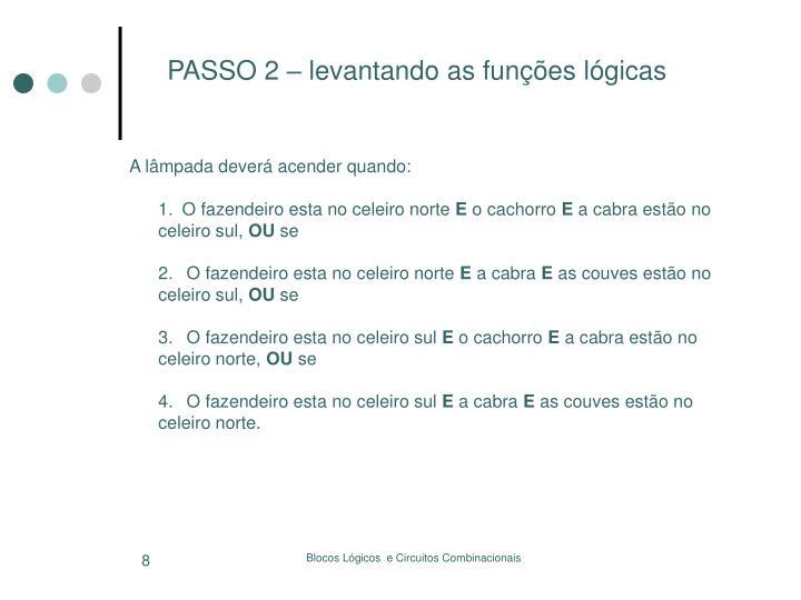 PASSO 2 – levantando as funções lógicas