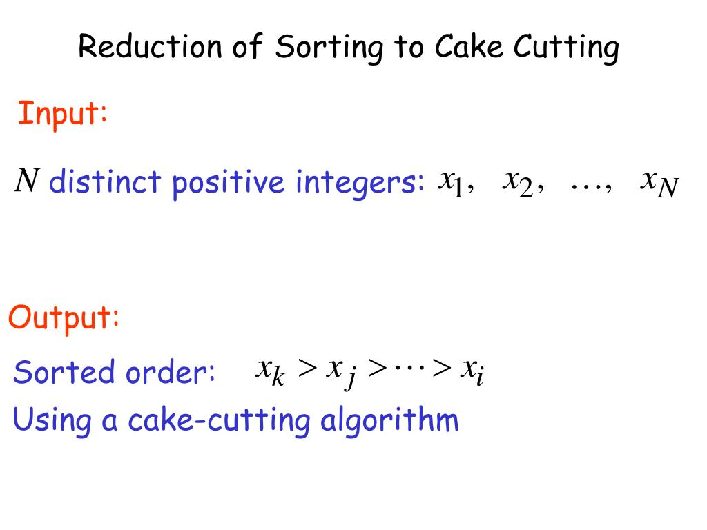 Reduction of Sorting to Cake Cutting