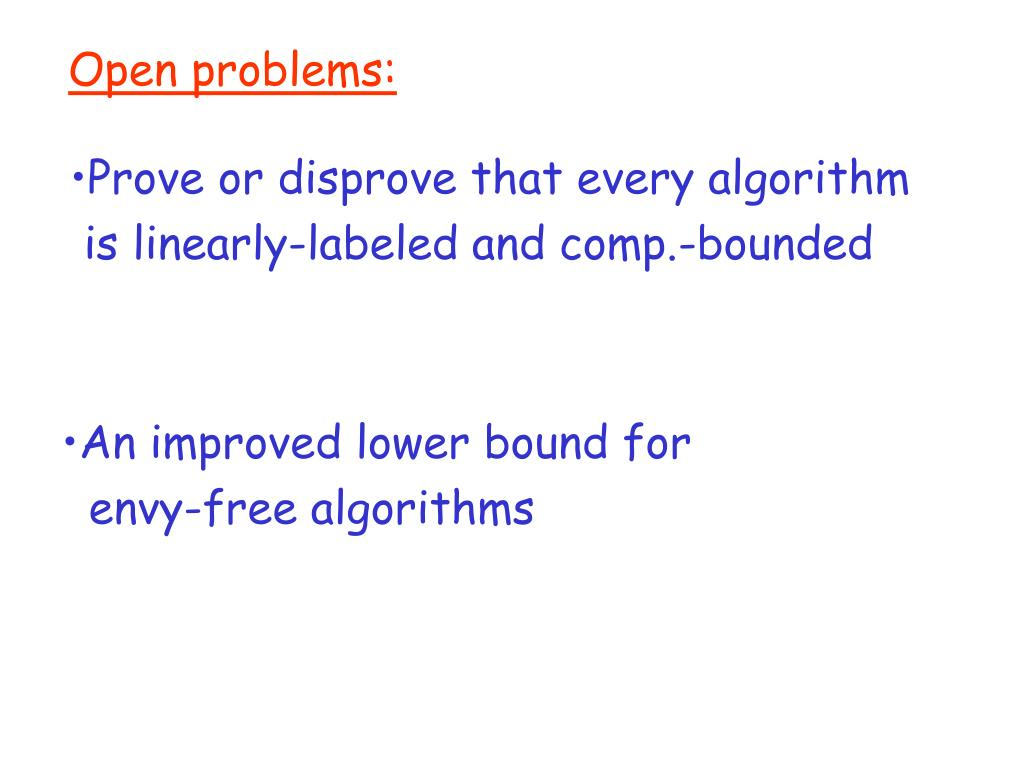Open problems: