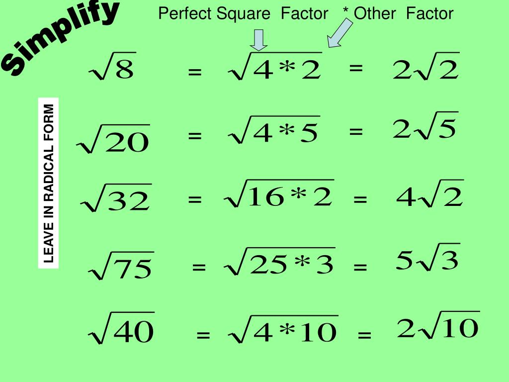 Perfect Square  Factor   * Other  Factor
