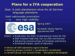 plans for a iya cooperation