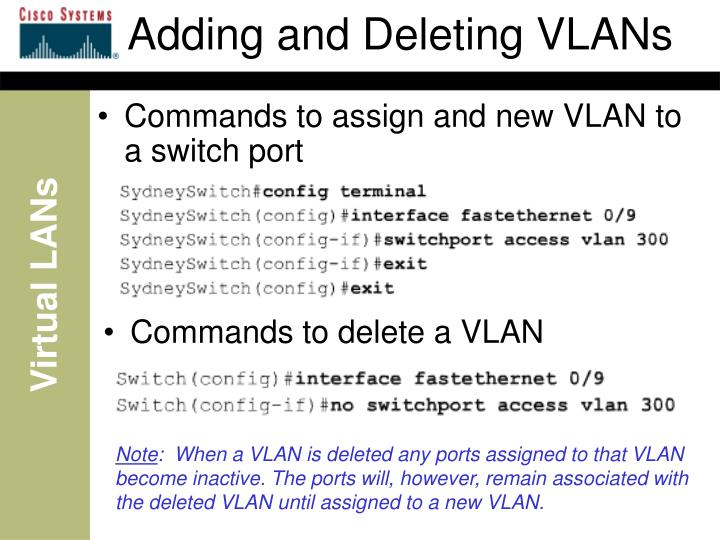 Adding and Deleting VLANs