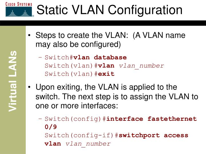 Static VLAN Configuration