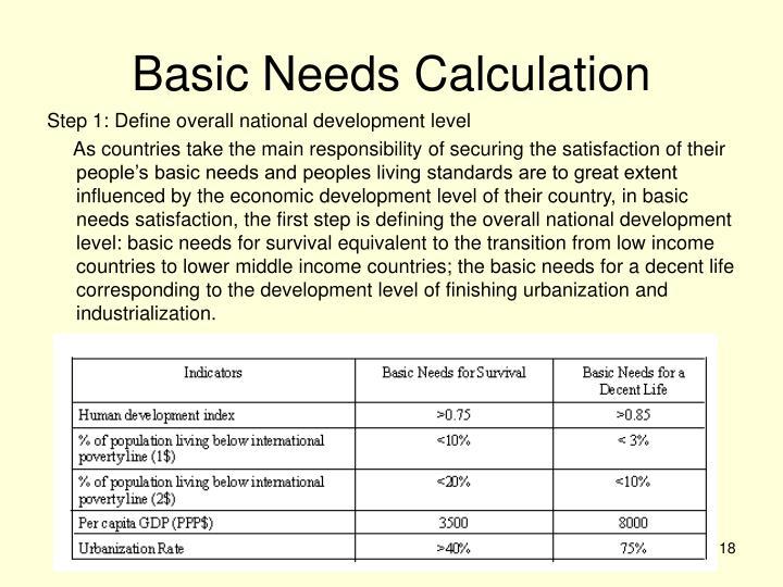 Basic Needs Calculation