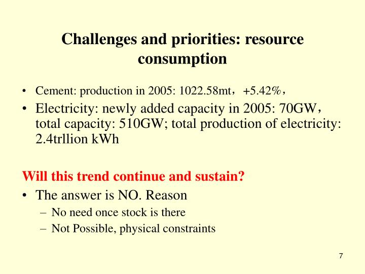 Challenges and priorities: resource consumption