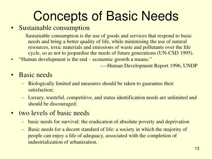 Concepts of Basic Needs