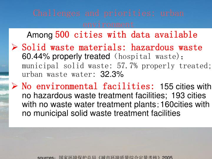 Challenges and priorities: urban environment