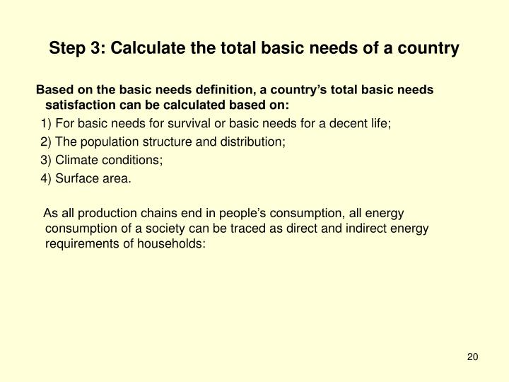 Step 3: Calculate the total basic needs of a country