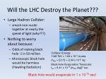 will the lhc destroy the planet