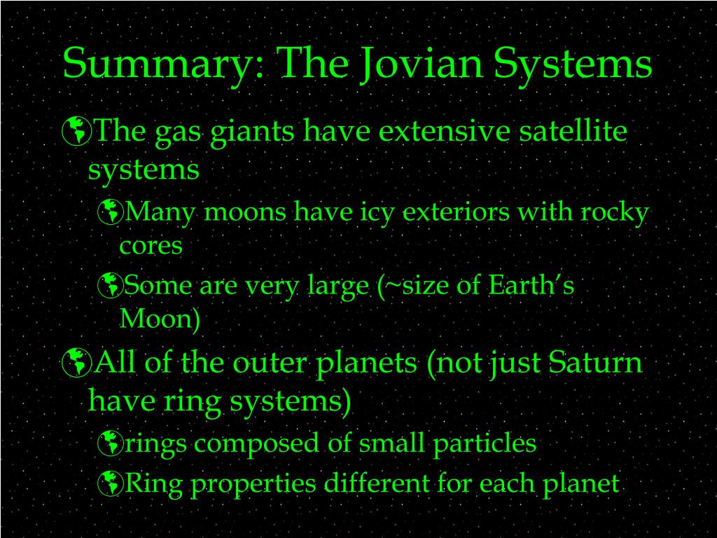 Summary: The Jovian Systems