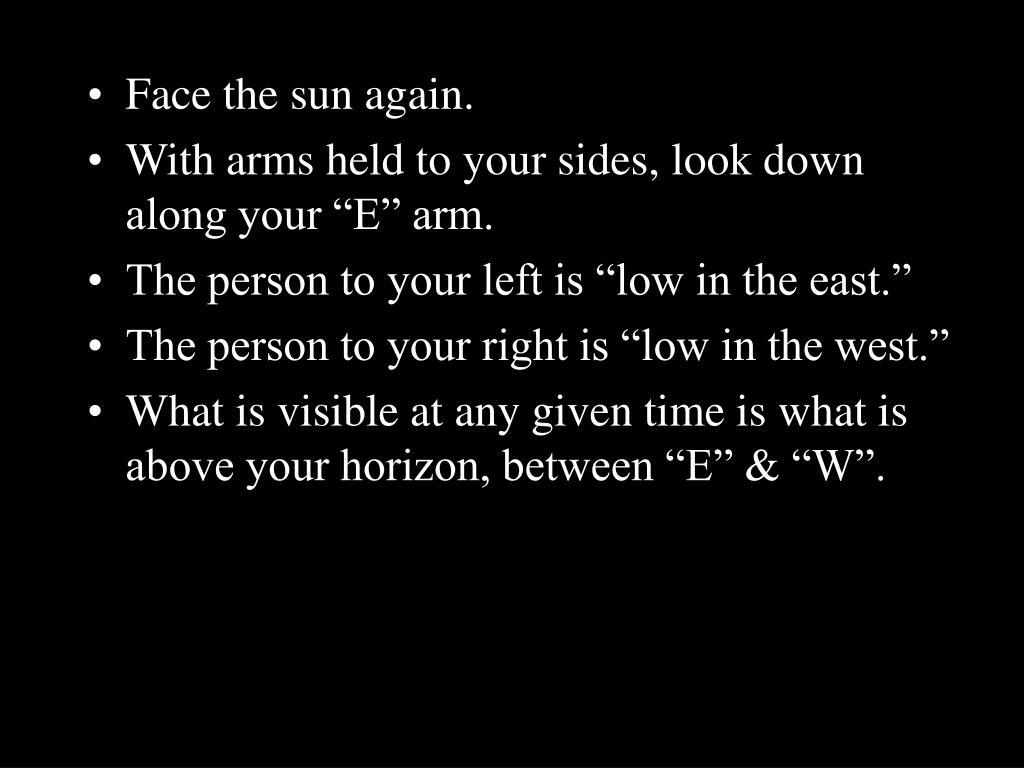 Face the sun again.