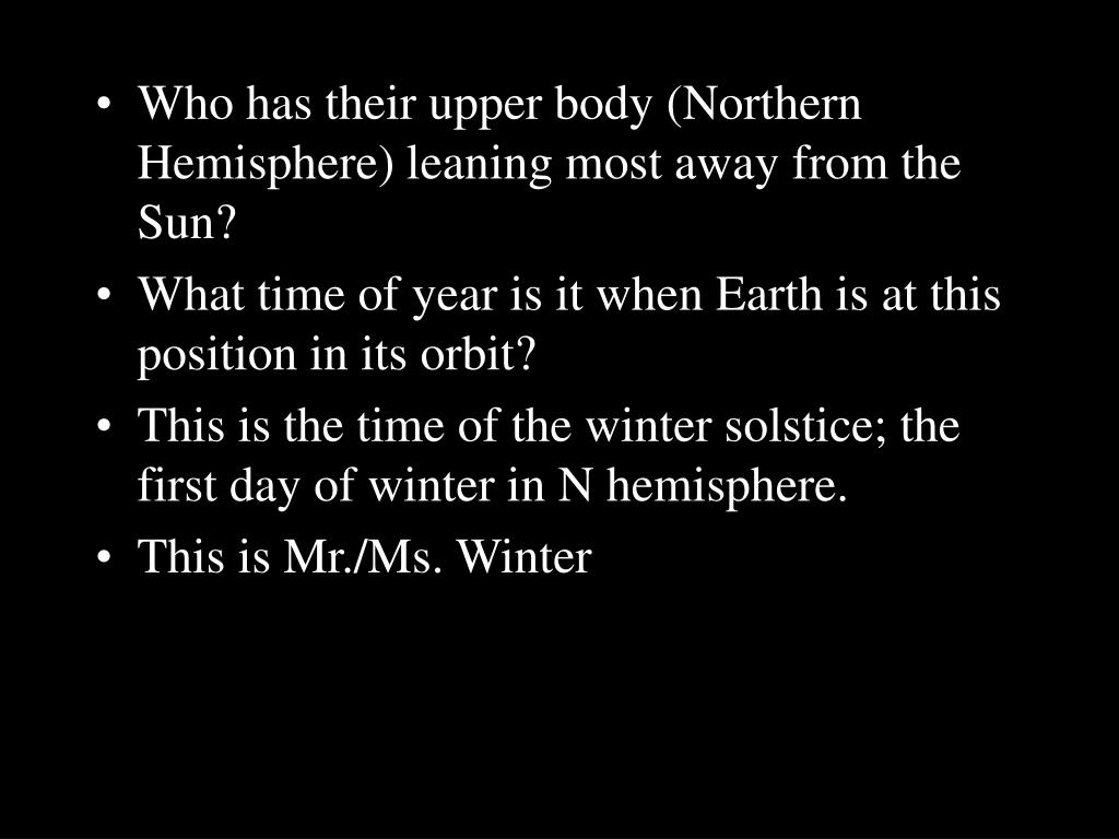 Who has their upper body (Northern Hemisphere) leaning most away from the Sun?