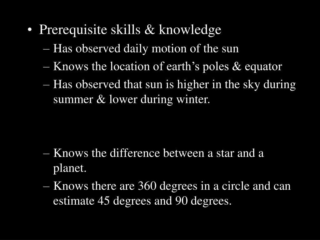 Prerequisite skills & knowledge