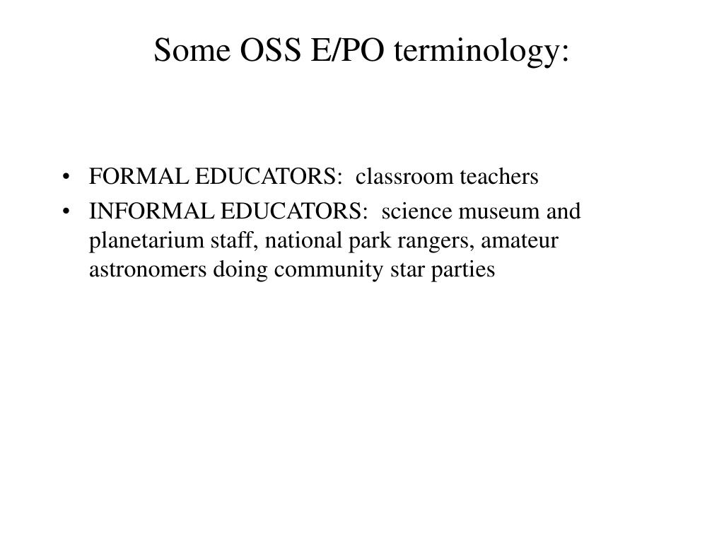Some OSS E/PO terminology: