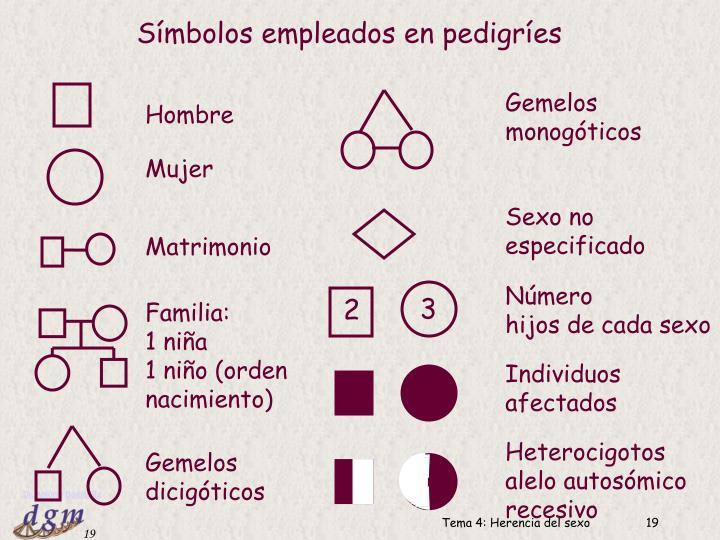 Símbolos empleados en pedigríes