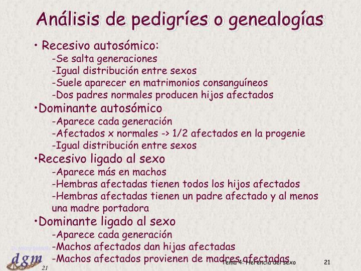 Análisis de pedigríes o genealogías