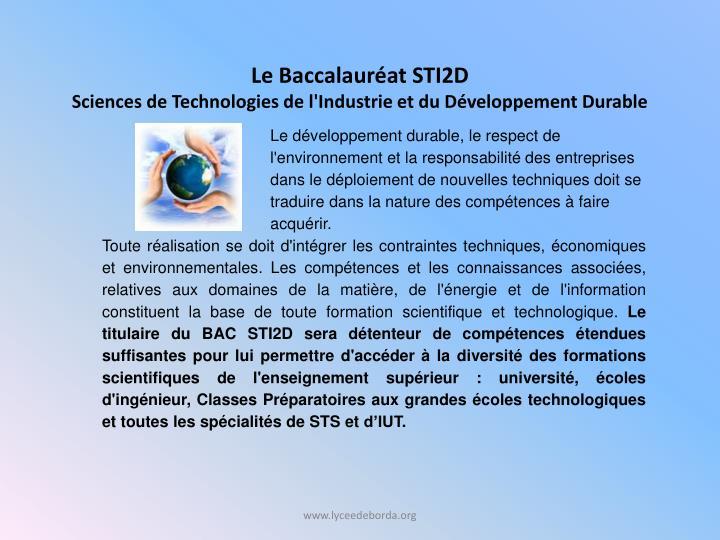 Le Baccalauréat STI2D