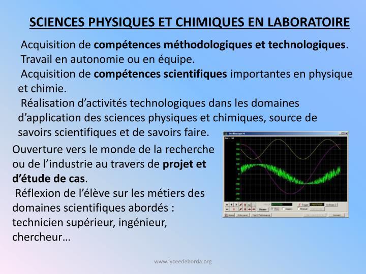 Sciences physiques et chimiques en laboratoire
