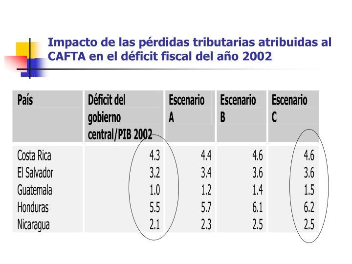Impacto de las pérdidas tributarias atribuidas al CAFTA en el déficit fiscal del año 2002