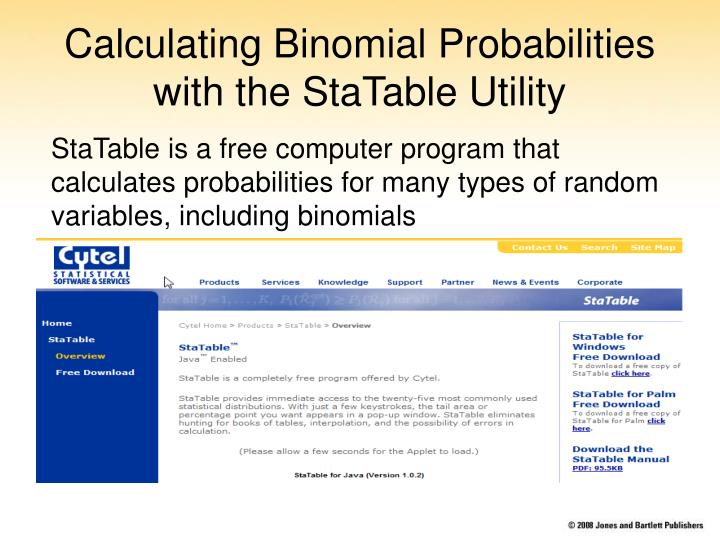 Calculating Binomial Probabilities with the StaTable Utility