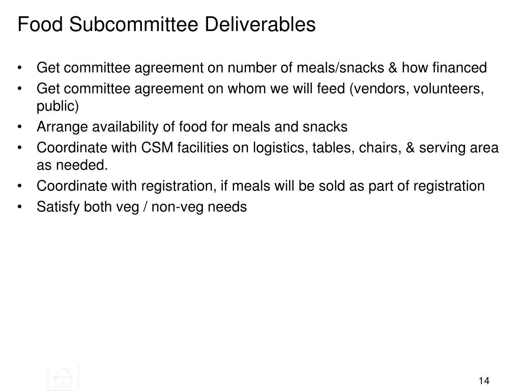 Food Subcommittee Deliverables