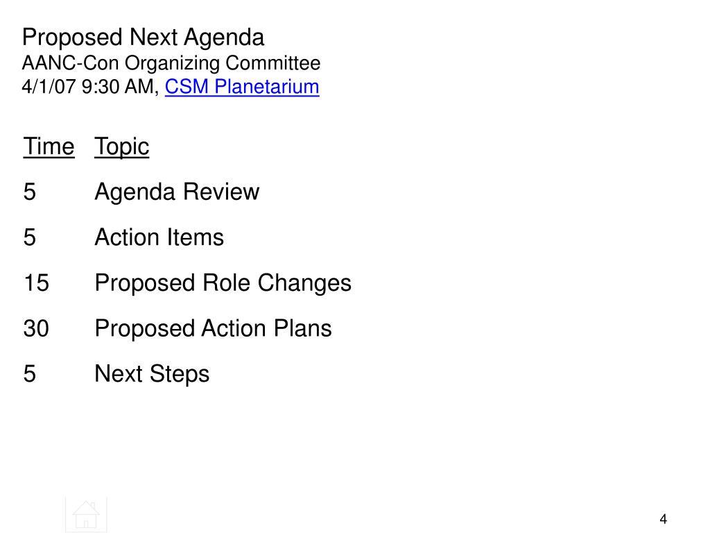Proposed Next Agenda